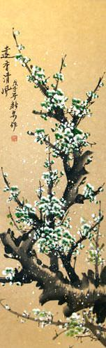 Blue-Green Plum Blossoms Wall Scroll close up view
