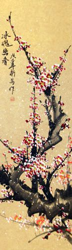 Pink Plum Blossoms Wall Scroll close up view