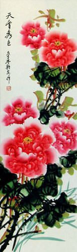 Heavenly Fragrance and Beauty - Peony Flower Wall Scroll close up view