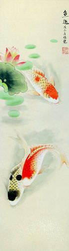 Koi Fish Having Fun in Lotus Pond - Chinese Wall Scroll close up view