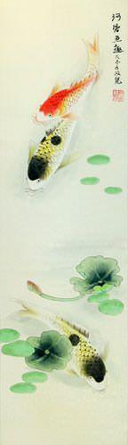 Japanese Koi Fish and Lotus Wall Scroll close up view