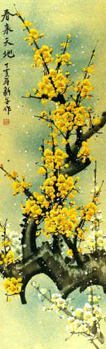 Colorful Golden-Yellow Plum Blossom Wall Scroll close up view