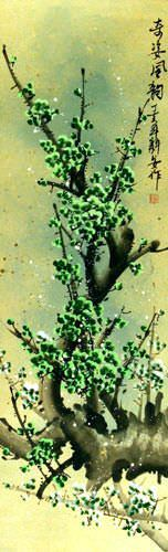 Poetic Green Plum Blossom Wall Scroll close up view