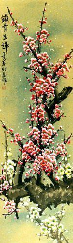 Colorful Pink and White Plum Blossom Wall Scroll close up view