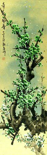 Chinese Green Plum Blossoms Wall Scroll close up view