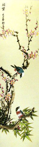 Thinking of the Future - Bird and Flower Wall Scroll close up view