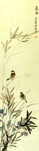 Summer Wishes - Bird and Flower Wall Scroll close up view