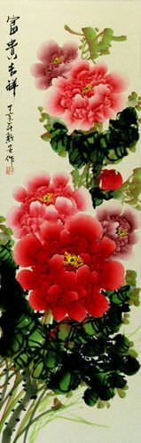 Long Red and Pink Peony Flower Wall Scroll close up view
