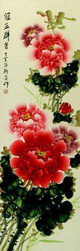 Peony Flower Colorful Wall Scroll close up view