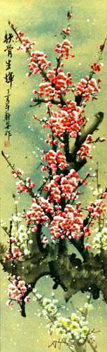 Pink and White Plum Blossom Wall Scroll close up view
