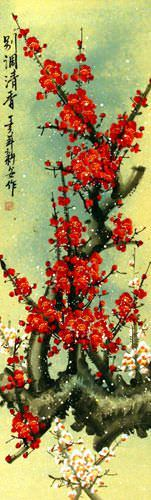Red Colorful Plum Blossom Wall Scroll close up view