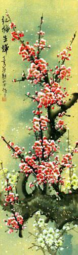 Pink Plum Blossom Wall Scroll close up view