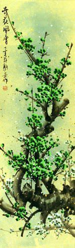 Strange Beauty Fragrant Wind - Green Plum Blossom Wall Scroll close up view