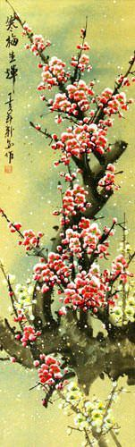 Colorful Pink Plum Blossom Wall Scroll close up view