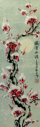 Blooming Chinese Snow Plum Blossoms Wall Scroll close up view