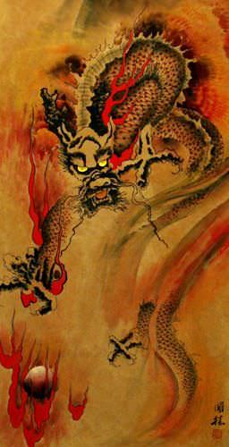 Flying Chinese Dragon - Chinese Wall Scroll close up view
