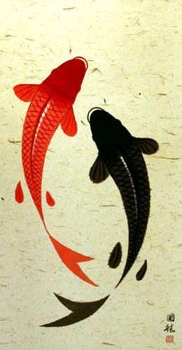 Big Yin Yang Fish Wall Scroll close up view