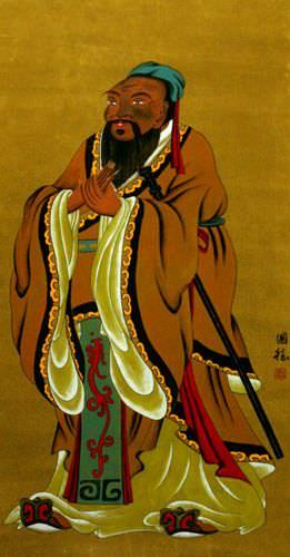 Confucius - The Great Sage - Partial Print Wall Scroll close up view