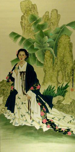 Woman and Palm Tree - Large Wall Scroll close up view