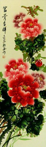 Colorful Flowers - Peony Wall Scroll close up view