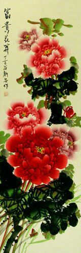 Colorful Peony Flower Wall Scroll close up view