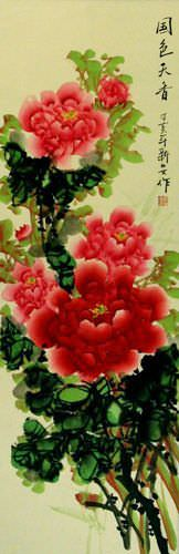 Red and Pink Peony Flower Wall Scroll close up view