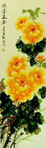 Chinese Yellow Peony Flower Wall Scroll close up view