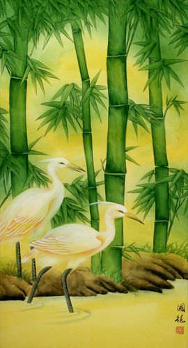 Chinese Egrets and Green Bamboo Wall Scroll close up view