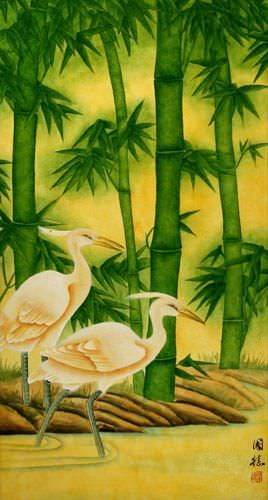 Large Egrets and Green Bamboo Wall Scroll close up view