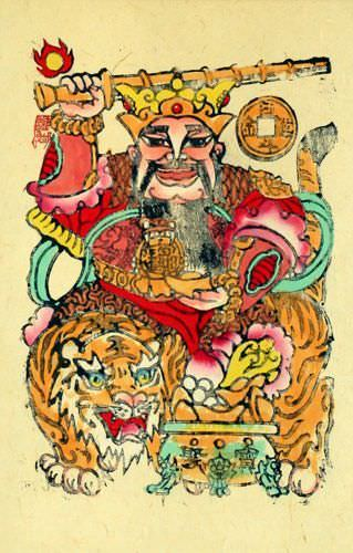 Saint of Money and Prosperity - Woodblock Print Wall Scroll close up view