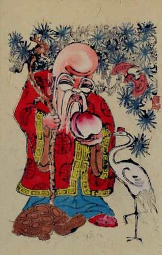 God of Longevity Holding Peach - Woodblock Print Wall Scroll close up view