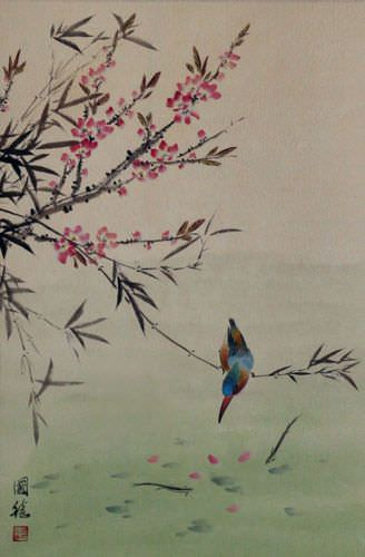 Bird & Flower - Asian Art Wall Scroll close up view