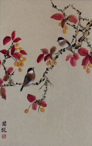 Birds on Autumn Branch Wall Scroll close up view