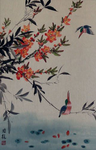 Bird and Flower Wall Scroll close up view