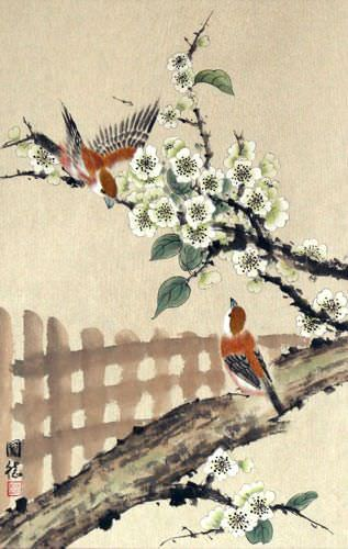 Bird & Flower Fence Wall Scroll close up view