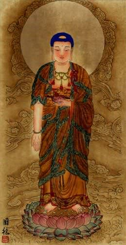 The Buddha Shakyamuni - Partial-Print - Chinese Wall Scroll close up view