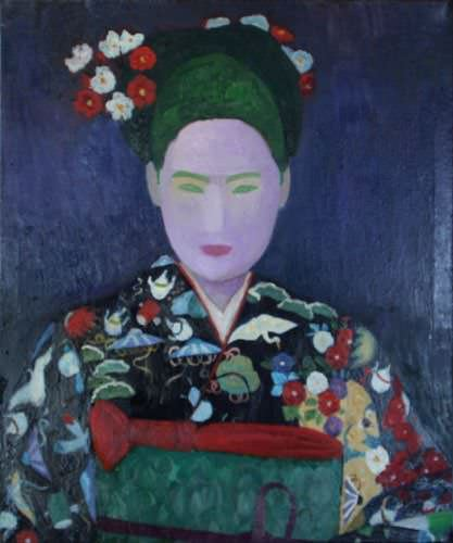 Traditional Japanese Woman<br>Japanese Oil Painting