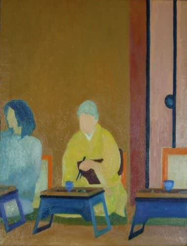 "See how ""Meal Time - Japanese Oil Painting"" would look after being professionally framed"