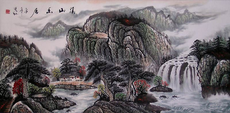 Secluded Home at Spring Mountain - Asian Art Landscape