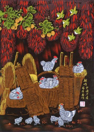 Autumn Feeling - Chickens Folk Art Painting