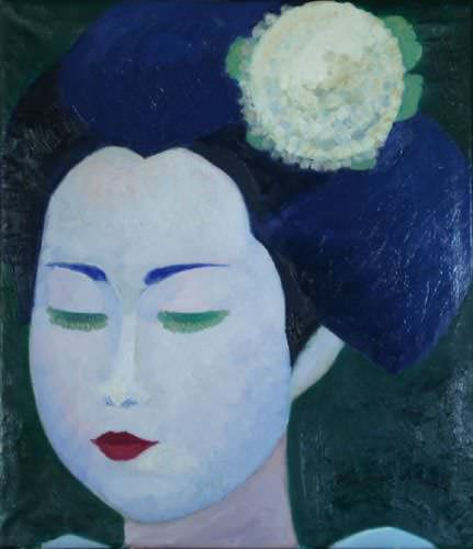Traditional Japanese Lady<br>Japanese Oil Painting