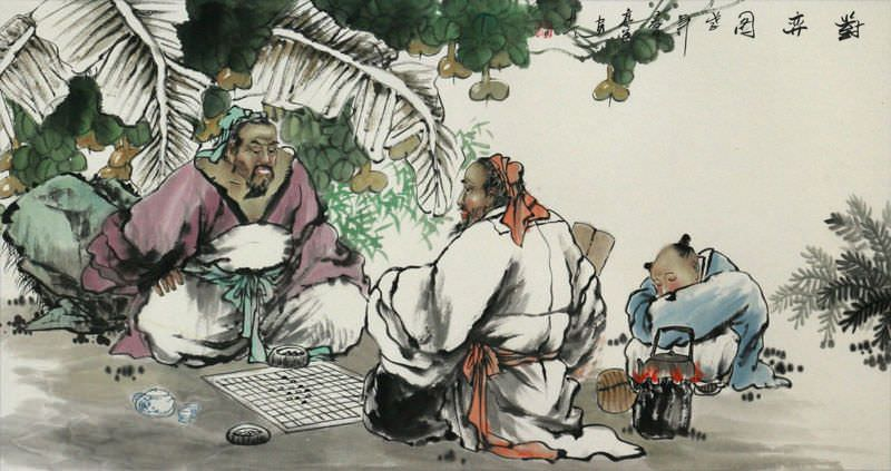Ancient Chinese Chess<br>Antique Style Painting