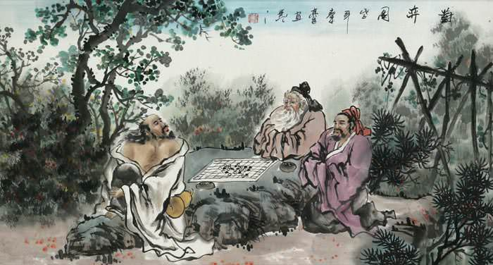 "See how ""Old Men Playing Chinese Chess Painting"" would look after being professionally framed"