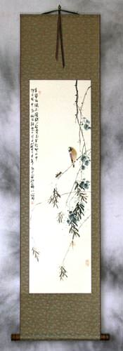 Bird on a Branch - Bird and Flower Chinese Wall Scroll