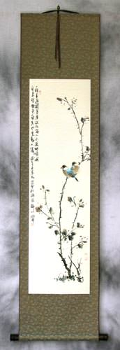 Birds on a Branch<br>Bird and Flower Wall Scroll