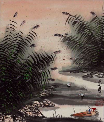 Cranes and Boat at the River Bank - Chinese Landscape Painting