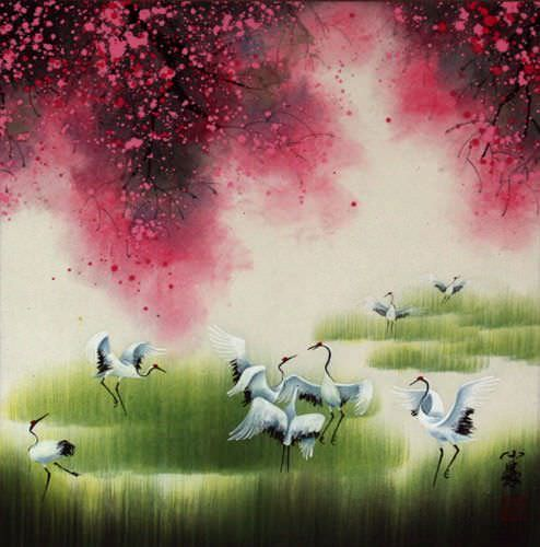 Colorful Cranes Painting