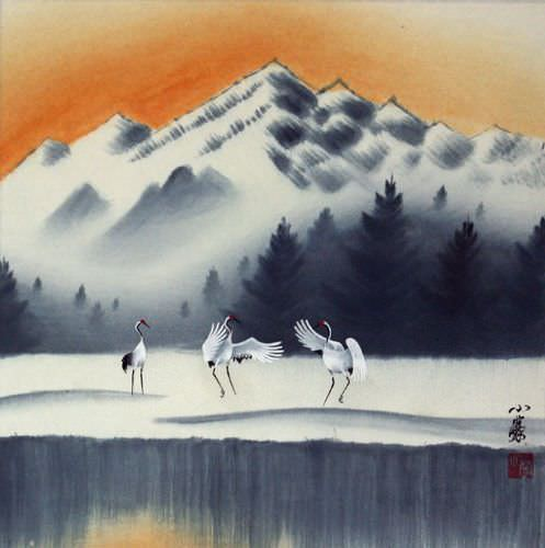 Tian Mountain Snowscape Asian Landscape Painting