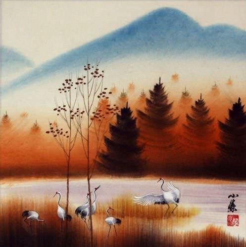 Crisp Autumn Cranes Landscape Painting