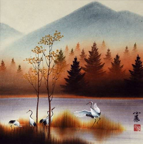 "See how ""Crisp Autumn Cranes Landscape Painting"" would look after being professionally framed"